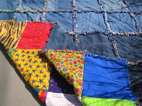 Denim Flannel Rag Quilt Detail