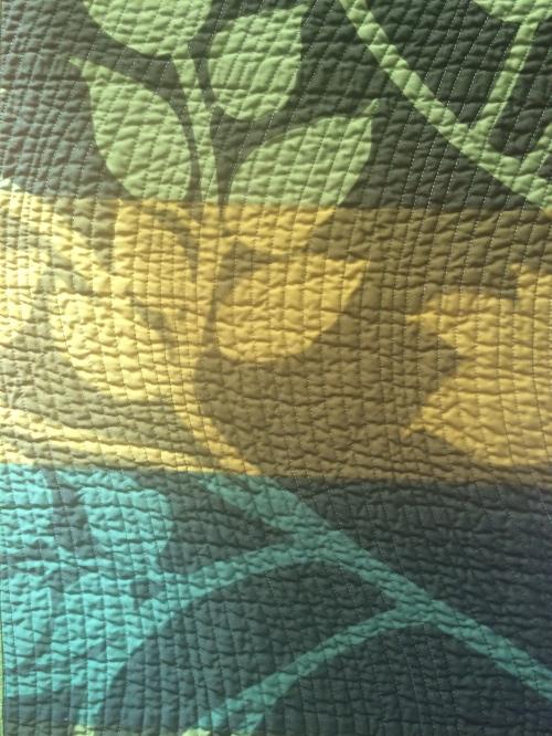 """Detail of """"Greens"""" table runner gift"""