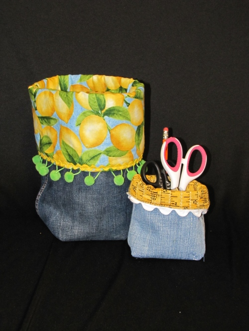 Denim buckets made from jeans legs