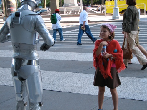 Silver Robot w/ Adrienne - Ferry Bldg San Francisco