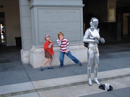 Silver Robot w/ Adrienne & Julian - Ferry Bldg San Francisco