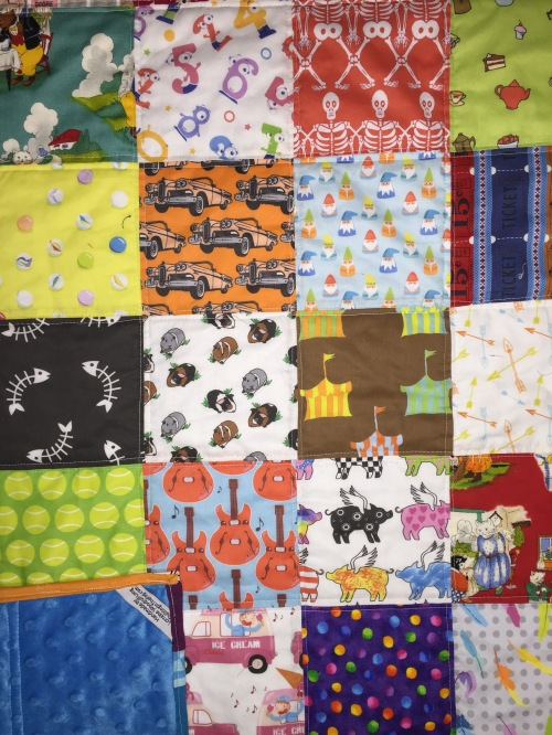 I Spy Baby Quilt for Baby Hart with Minky fabric backing