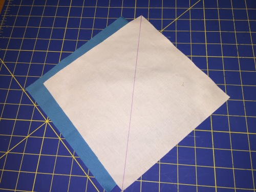 "Create a half square triangle (HST) from two 8.5"" squarea"