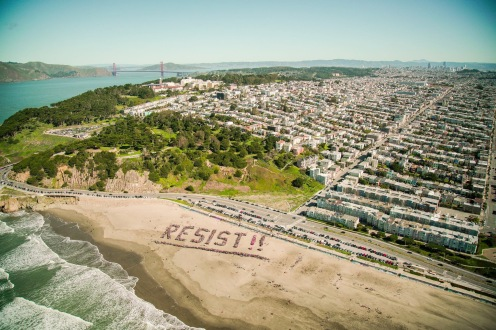 Resist San Francisco ocean Beach Feb 2017